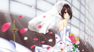 Заставки дата живой, тихая Куруми, невеста, свадебное платье, улыбаются, лепестки, букет