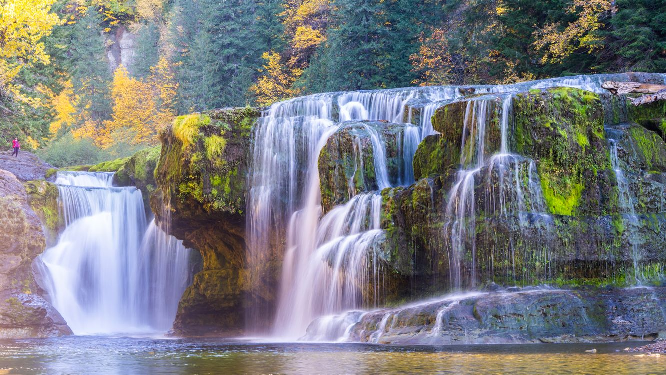 Фото бесплатно Lower Lewis River Falls, Columbia River, водопад, осень, скалы, деревья, природа, пейзажи