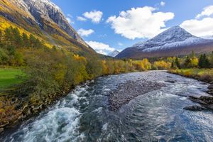 Photo free river, mountain fall, for the trees
