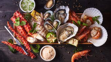 Фото бесплатно устрицы, ракушки, раки, морское блюдо, мясо, соусы, столовый набор