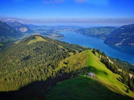 Фото бесплатно Альпы, Швейцария, Тунерзее