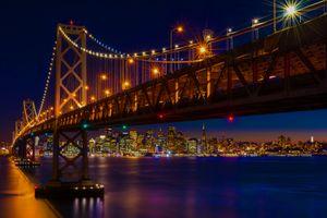 Фото бесплатно Сан-Франциско, Мост, закат, сумерки, город, огни