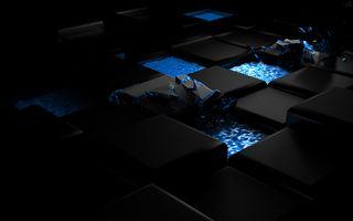 Фото бесплатно кубы, в синей лаве, осколки