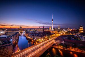 Фото бесплатно berlin, Берлин, столица, deutschland, germany, Германия, город, панорама, ночь, ночные города
