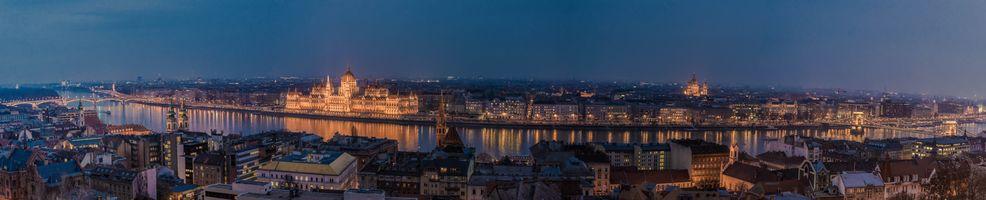 Заставки Budapest,Будапешт,Венгрия,панорама,город,ночь,ночные города
