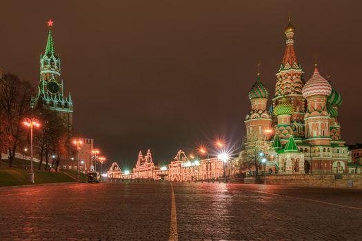 Заставки Ночь на Красной площади с Кремлем и собором Василия Блаженного, ночные города, Москва