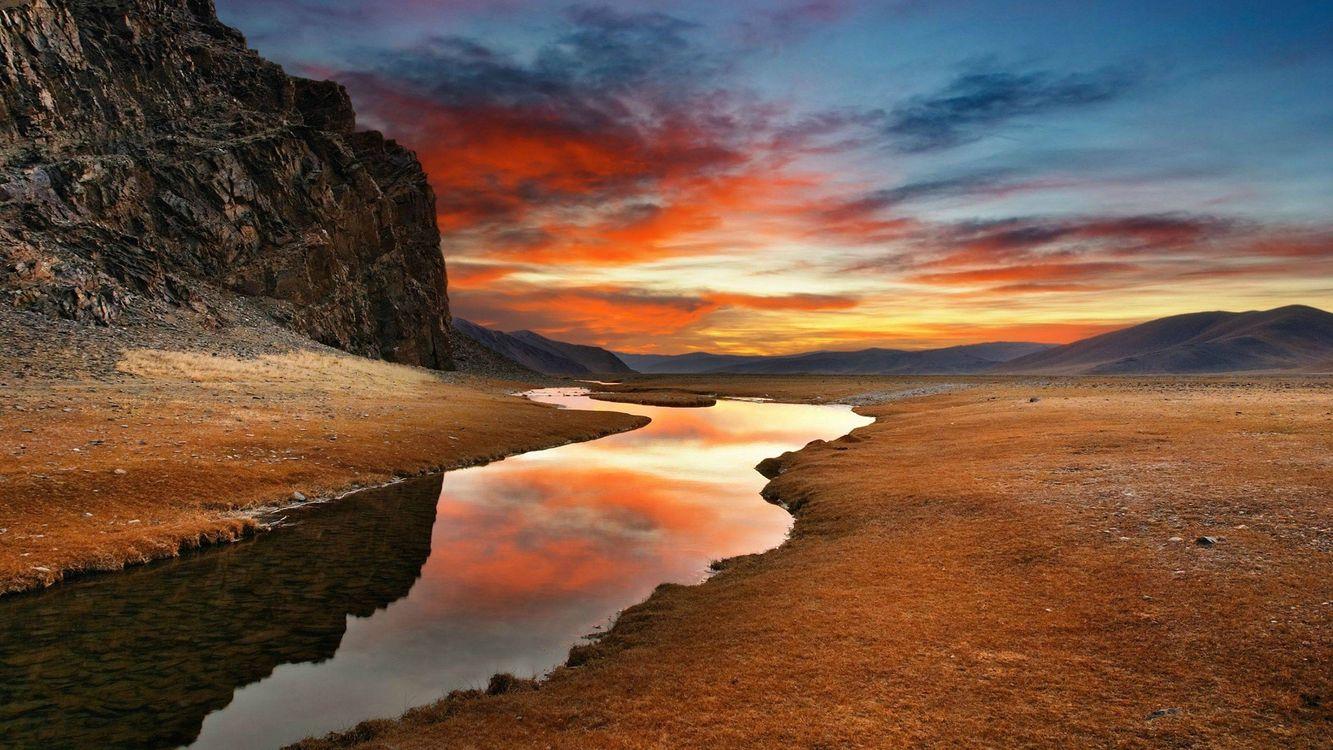 Фото бесплатно река, отражение, облака - на рабочий стол