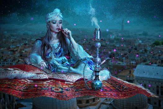 Photo free flying carpet, the girl, hookah