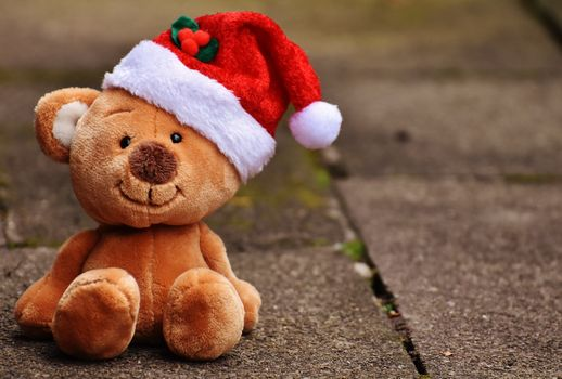 Photo free Christmas toy, plush bear, Santa hat