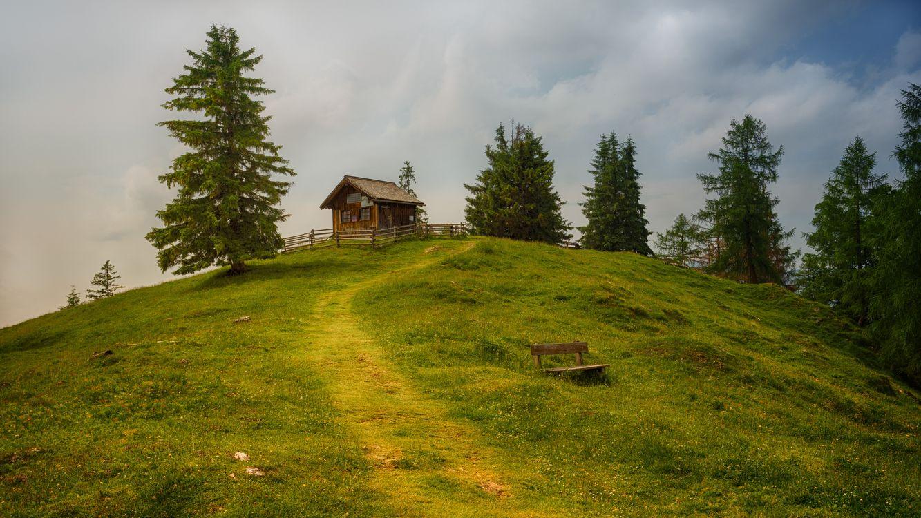 Фото бесплатно пастбища, бревенчатый домик, природа - на рабочий стол
