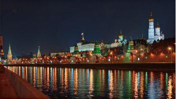 Бесплатные фото Москва,Россия,Кремль,Москва река,ночь,огни,иллюминация