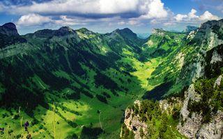 Бесплатные фото природа,швейцария,деревья,каньон,трава,облака,горы