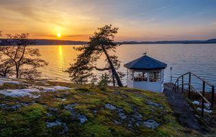 Заставки Svartskog,Norway,Норвегия,море,закат,беседка,берег