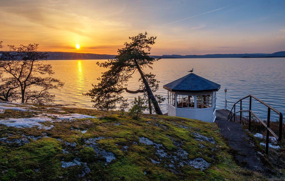 Фото бесплатно Svartskog, Norway, Норвегия, море, закат, беседка, берег, пейзаж, пейзажи - скачать на рабочий стол