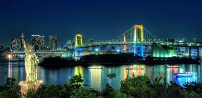 Заставки панорама, ночной город, Токио