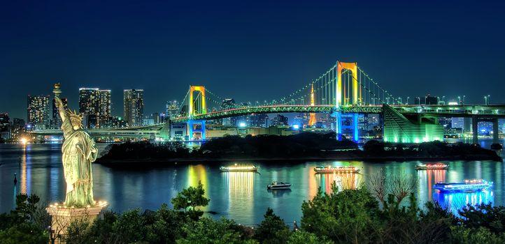 Фото бесплатно панорама, ночной город, Токио