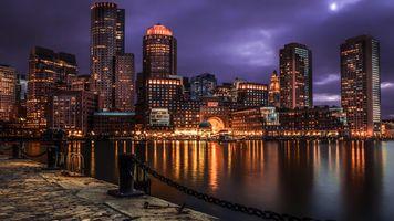 Фото бесплатно США, здания, ночь