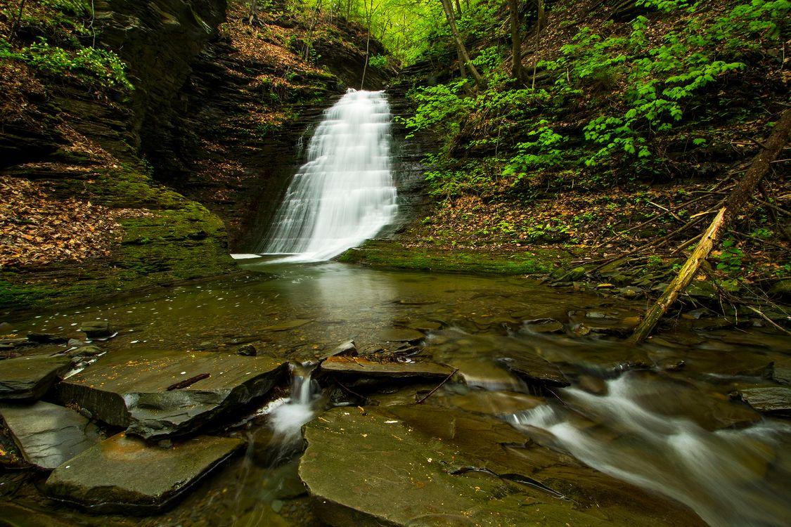 Фото бесплатно водопад, лес, скалы, деревья, водоём, природа, поток, вода, камни, пейзаж, пейзажи