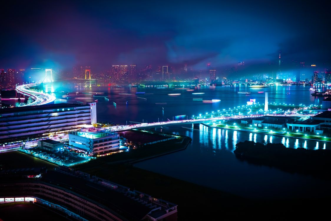 Фото бесплатно ночной город, обои, синий - на рабочий стол