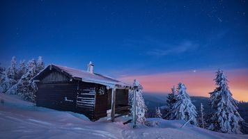 Бесплатные фото Германия,зима,закат,снег,горы,домик,деревья