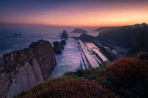 Бесплатные фото Уррос де Льенкрес,Испания,море,закат,скалы,волны,берег