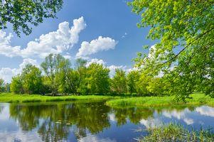 Заставки Весенний пейзаж с реки Нарев, река, весна