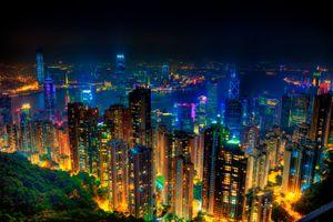Заставки город, огни ночного города, Гонконг