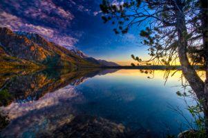 Заставки Jenny Lake,Grand Teton National Park,горы,озеро,деревья,отражение,закат