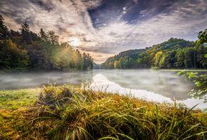 Фото бесплатно Самян, озеро, Тракошчан, Хорватия, утро, рассвет, закат, осень, Восход солнца, небо, деревья, природа, пейзаж