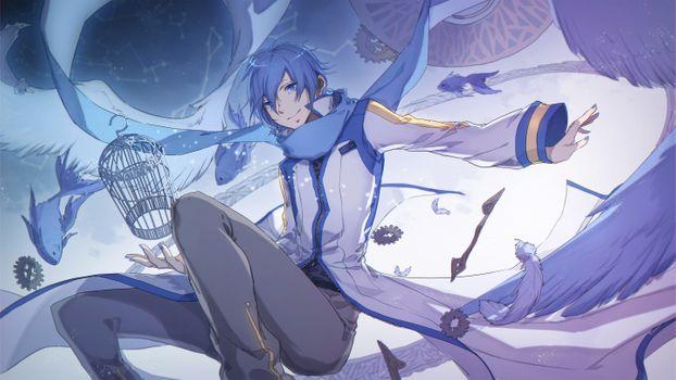 Фото бесплатно вокалоид Кайто, Синий платочек, клетка