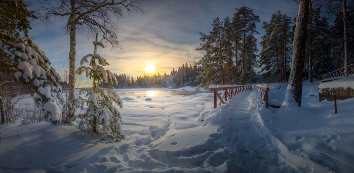 Photo free Finland, Langinkoski, snowy view
