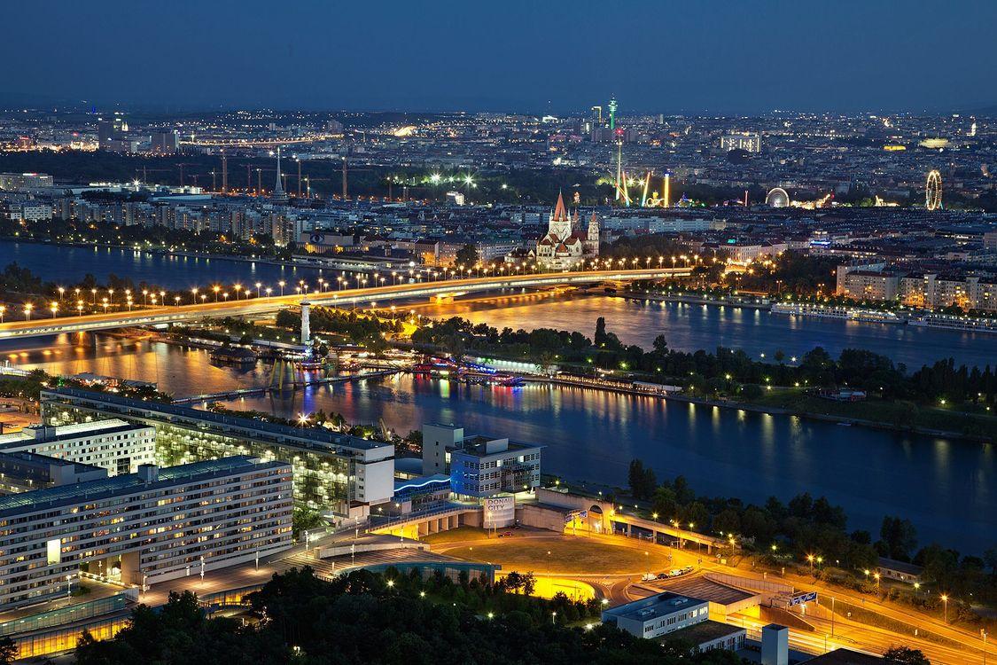 Фото бесплатно вена, вечер, ночь, abendstimmung, освещение, город, австрия - на рабочий стол