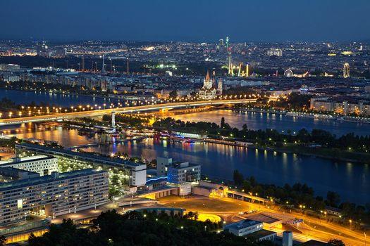 Бесплатные фото вена,вечер,ночь,abendstimmung,освещение,город,австрия,дунай,дунайский остров,богатые мост,дунай-сити