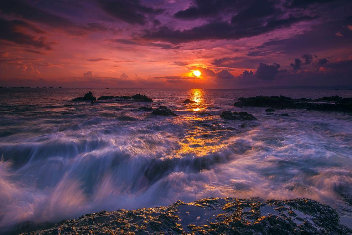 Фото бесплатно Закат на пляже Ложи, плато Рату, Сукабуми - на рабочий стол
