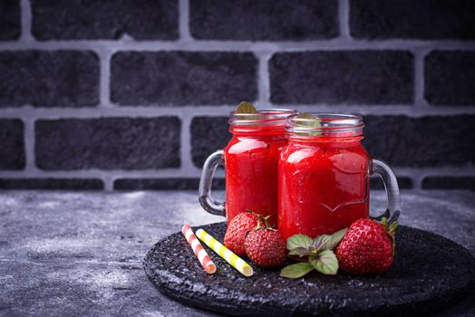 Strawberry juice with pulp · free photo