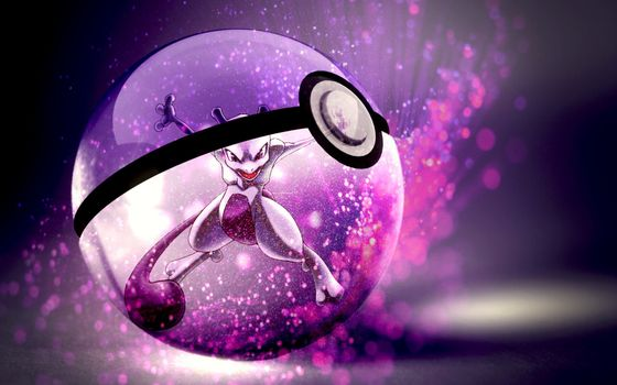 Фото бесплатно pokeball, Mewtwo, покемон