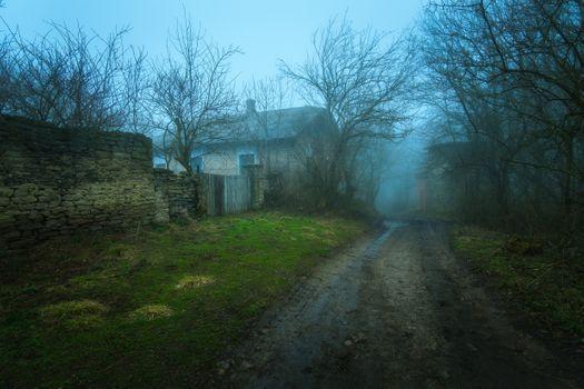 Photo free house, road, fog