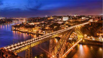 Бесплатные фото Порту,Португалия,Porto,город,сумерки,мост,дома