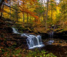 Заставки водопад, цвета осени, скалы