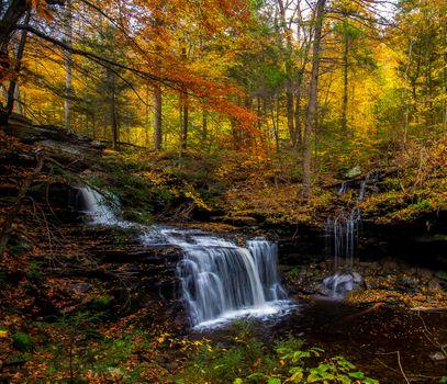 Фото бесплатно водопад, цвета осени, скалы