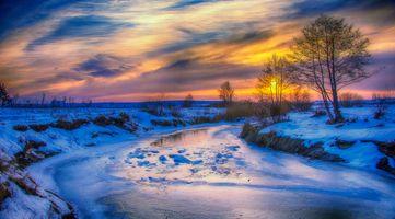 Бесплатные фото зима,закат,река,снег,деревья,природа,пейзаж