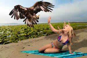Фото бесплатно девушка, красотка, пляж