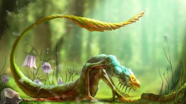 Заставки сказочное существо, длинный хвост, произведение искусства