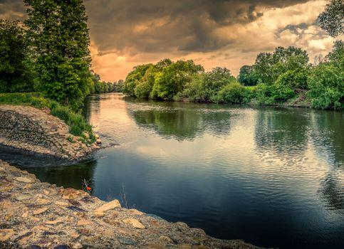 Бесплатные фото Рейнланд-Пфальц,Германия,сельская местность,река,закат,деревья,природа,пейзаж