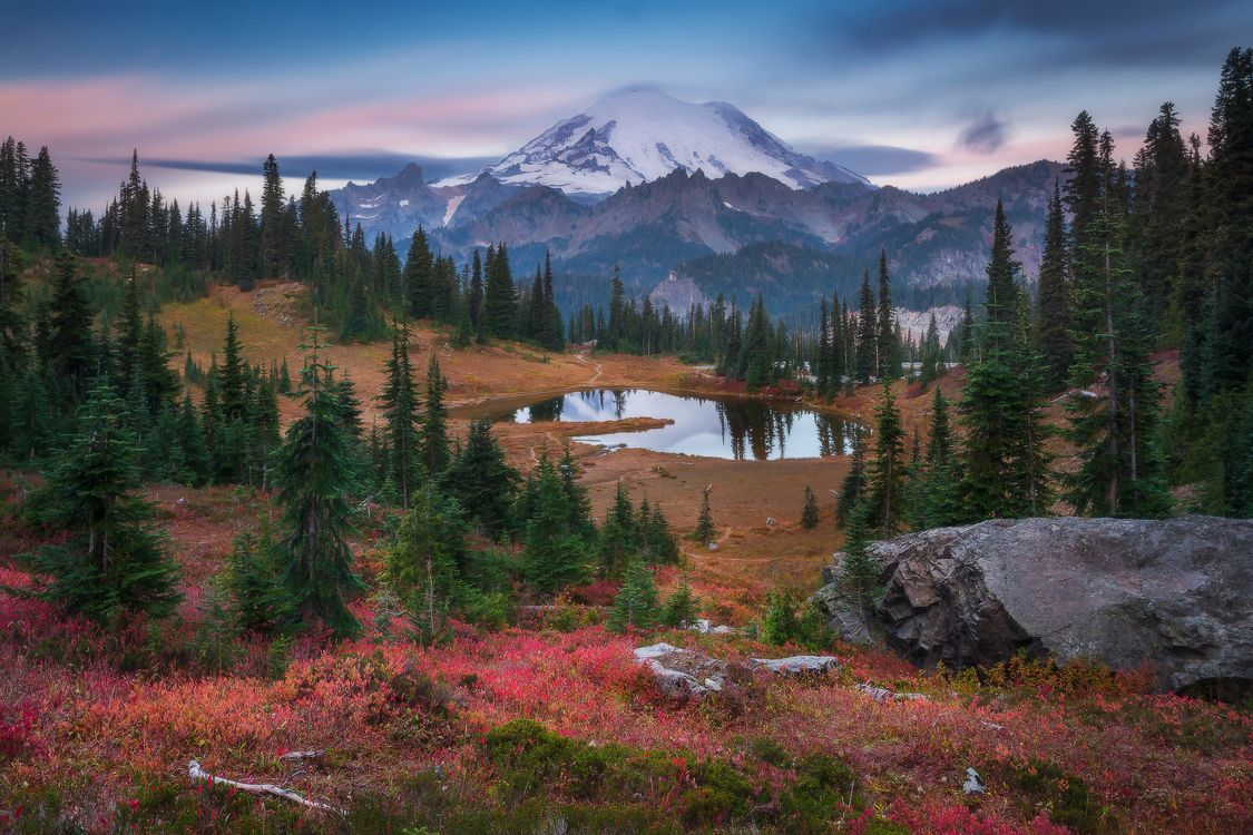 Обои Tipsoo Lake, Mount Rainier National Park, закат картинки на телефон
