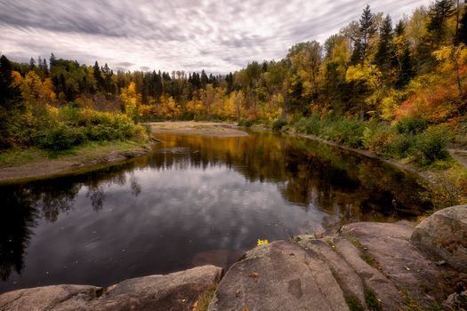 Заставки Осенние цвета вдоль реки Ду-Мулен, Канада, осень