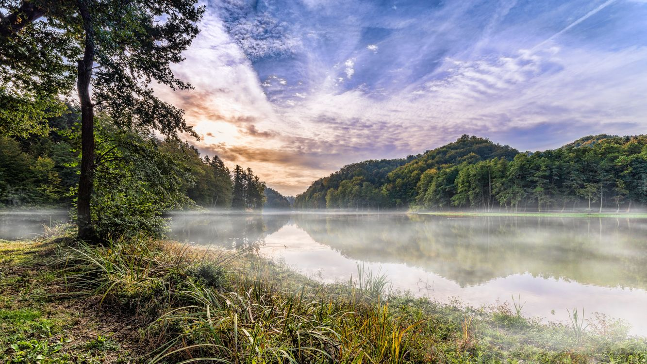 Фото бесплатно Самян, озеро, Тракошчан, Хорватия, утро, рассвет, закат, осень, Восход солнца, небо, деревья, природа, пейзаж, пейзажи - скачать на рабочий стол