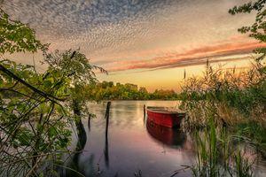 Бесплатные фото Йоркшир,Канада,небо,закат,озеро,лодка,деревья