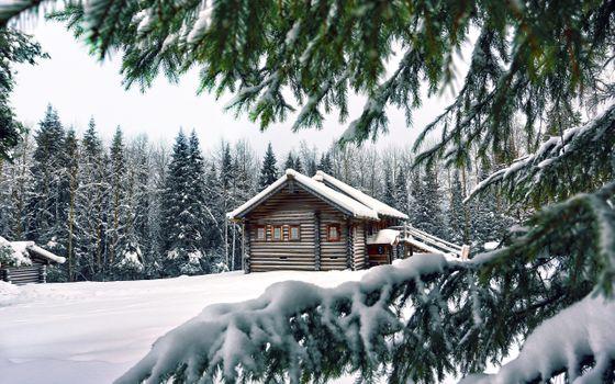 Старый дом в лесу зимой