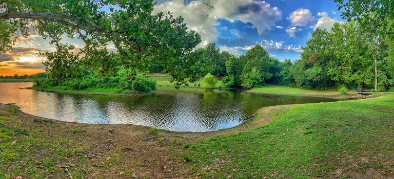 Фото бесплатно панорама, река, лето